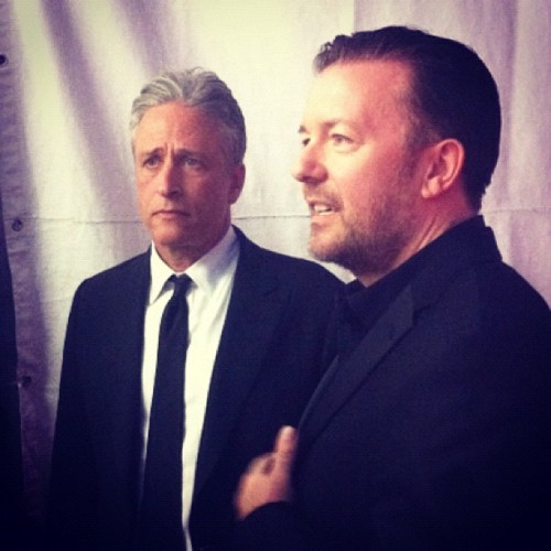 Winner Jon Stewart and friend Ricky Gervais catch up backstage. Serious comedians. [x]