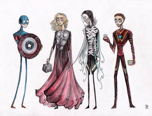 'Tim Burtonned' Avengers by la-chapeliere-folle