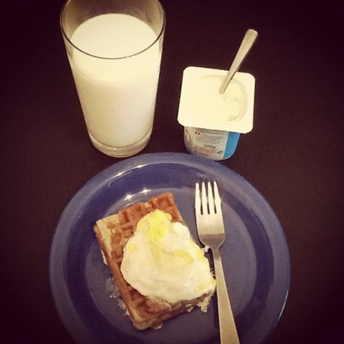 Another combo,blueberry waffle,with cream cheese feeling and egg on top,just experimenting, hehe! (Taken with Instagram)