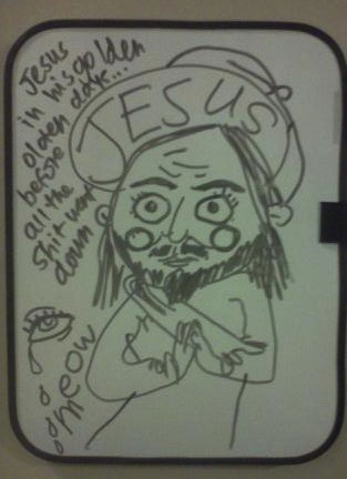 this is what one of my bffs/dormmates drew on my whiteboard last night.  what was supposed to be a halo eventually turned into a snapback.