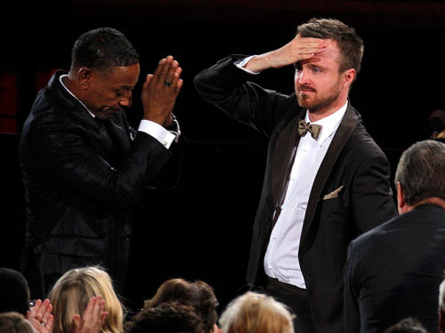 After winning the Emmy for best supporting actor in a drama, a stunned Aaron Paul gets a nod of respect from Breaking Bad costar (and fellow category nominee) Giancarlo Esposito.Emmys 2012