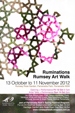 my graphic design for Ruminations - site specific art walk http://www.rumseyartwalk.blogspot.com.au/