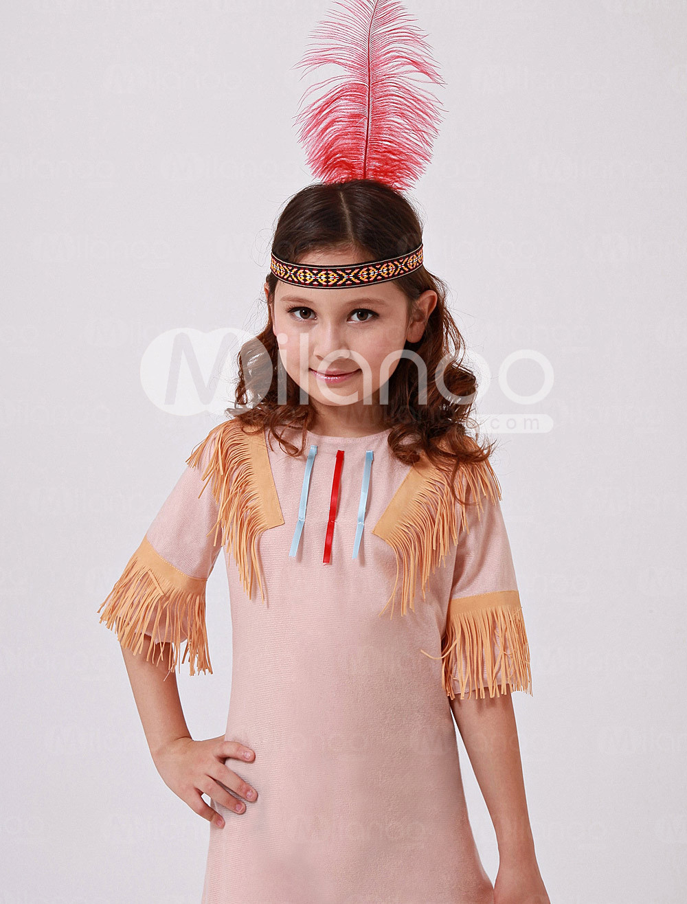 Yellow Polyester Tassel Indian Kids Costume