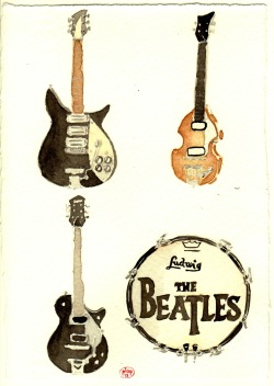 eatsleepdraw:  Their Fab Four Instruments by plop