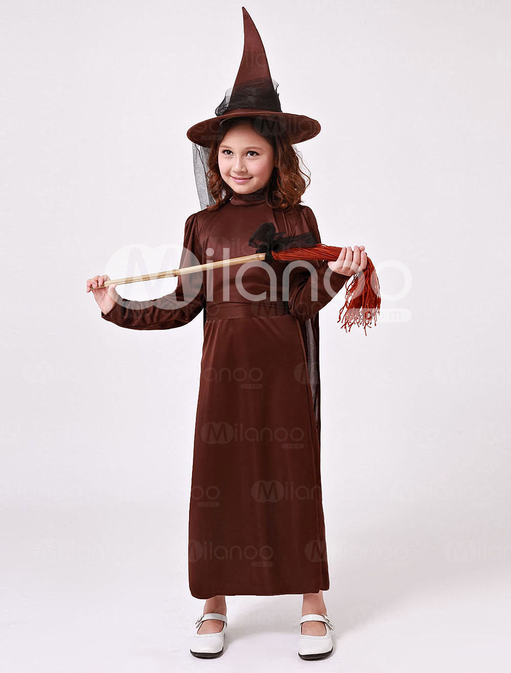 Brown Long Sleeves Polyester Little Witch Kids Costume