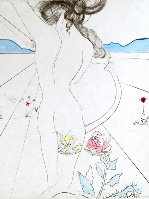 Copyright: Salvador Dali, Les Hippies In 1969 Dali created a series of 11 drypoint etchings with hand coloring entitled Les Hippies. The inspiration for this suite came from photographs taken in India by his longtime friend and publisher, Pierre Argillet.