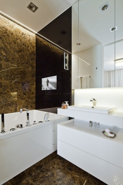 homedesigning:  (via Sleek and Sumptuous Poland Apartment: Brown Marble Bathroom)