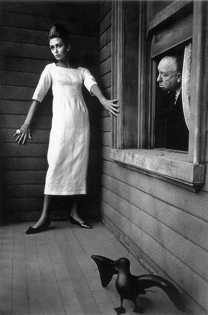 Jeanloup Sieff     Ina Balke and Alfred Hitchcock for Harper's Bazaar      1962