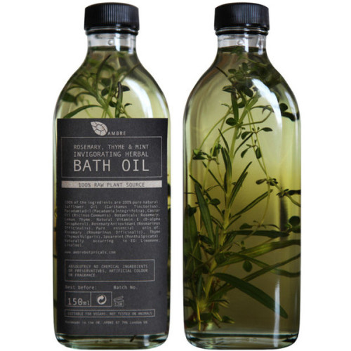 youth-club:   Rsemary, Thyme & Mint Invigorating Herbal Bath Oil (£18.00)