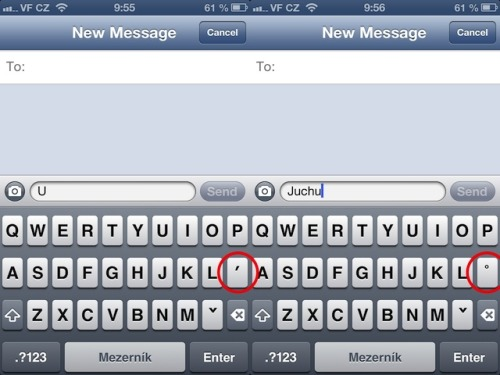iOS 6 - Keyboard detects specifics of language and displays correct diacritics depending on the part of a word. /via beny