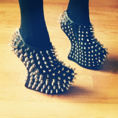 These Jeffrey Campbell Spiked Shadow Nightwalks in PATENT black are on their way to my apt! #jeffreycampbell #spiked #shadow #nightwalk #black #patent #shoes #ankle #boots #booties #fashion #gotallorgohome (Taken with Instagram)