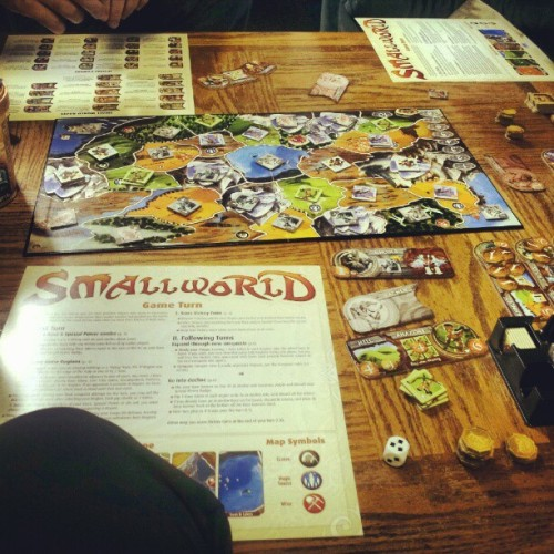 solo-forever:  #smallworld, super fun once you get all the freaking rules down. (I totally owned this round. Like. Completely.) #boardgames #gamenight #tabletop (Taken with Instagram)  Love this game, no matter how much we hate dealing with all those little cardboard tokens.