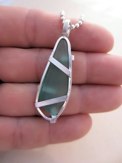 motionoftruth:  Seaglass and Sterling silver Pendant Handmade by AdobeSol