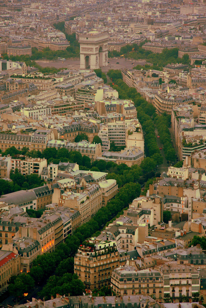 pharraoh:  travelingcolors:  Arc de Triomphe from Eiffel Tower, Paris | France (by brothergrimm)  This photo reinforces why I've always wanted to go to Paris