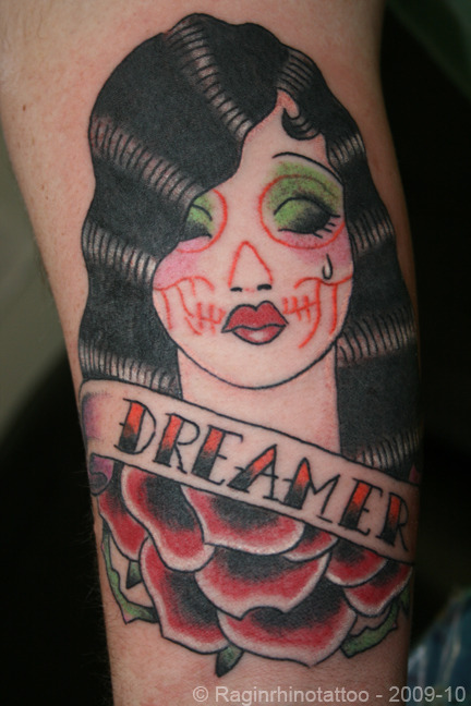 fuckyeahtattoos:  This was the start of my current sleeve in progress. Got this at Ragin' Rhino in Branson, Mo. by Jay Boss. Bad ass group of guys in there!