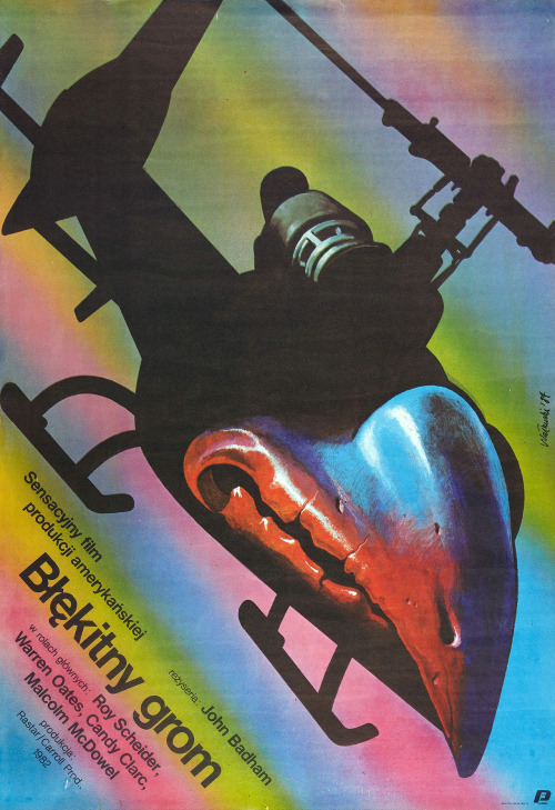 sunday fantasy #388:  reblog: scanzen:  Blue Thunder (Polfilm, 1984). Polish movie poster, artwork by Wieslaw Walkuski.  via ha.com