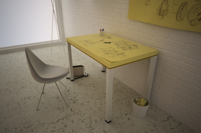 Awesome learning/work space! (via Post-ITable, A Combo Worktable & Sketchpad Concept)
