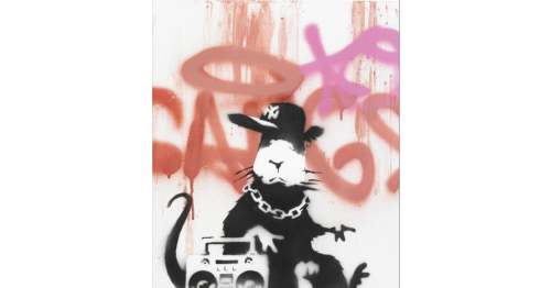 Banksy (British, born 1975)  Gangsta Rat 2006 signed on the turnover edge; signed, dated 06 and numbered 12/15 on the reverse stencil spray paint and freehand spray paint on canvas 19 11/16 by 15 3/4 in. 50 by 40 cm.