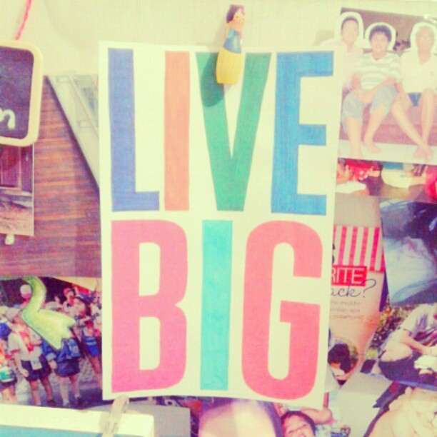 New motivation: LIVE BIG. #livebig #quote #live #life #love #big #photooftheday #quoteoftheday #instagood #igdaily #indonesia #bedroom #typography #printed #colorful (Taken with Instagram)