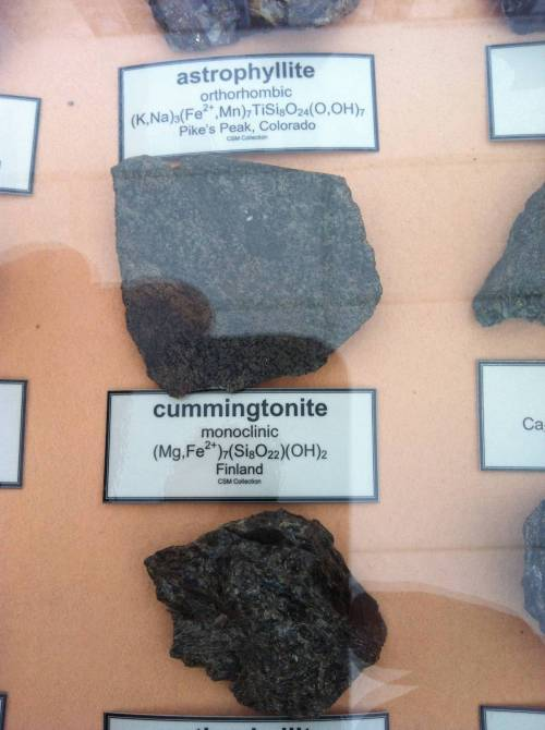 Cummingtonite.  Oh, it's real:  Cummingtonite is a metamorphic amphibole with the chemical composition (Mg,Fe)7Si8O22(OH)2, magnesium iron silicate hydroxide….Cummingtonite was first discovered in 1824 near the town of Cummington, Massachusetts, and it is from this town that the mineral takes its name.