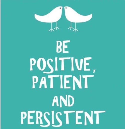 """Be positive, patient, and persistent."""