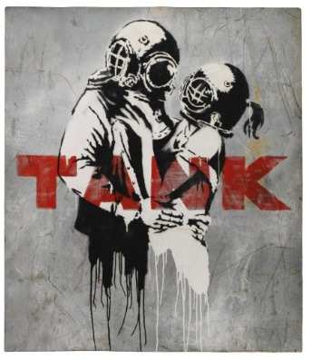Banksy B. 1975 UNTITLED  acrylic and spraypaint on steel 155 by 134cm.; 61 by 52 3/4 in. Executed in 2003.