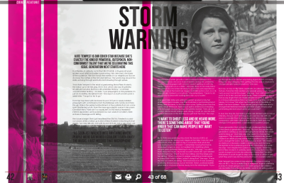 "Powerful. Positive. Non-conformist. Kate Tempest leads Generation Next // Cover Feature for Live Magazine - - I'm sitting on the ground of a theatre somewhere out in the hills of Suffolk. Before me is Kate Tempest – the 26 year old poet/spoken word artist and writer whose words bubble with anger that inspires. Fists clenched, she stares out, gazing upon the audience from her podium. ""We don't know the names of our neighbours. But we do know the names of the rich and famous"". Her words ring around the stalls, burning their way to the core of the faces that watch, mouths gawped open. This is Kate in the midst of performing 'Brand New Ancients', the second of what we can hope will be a long line of plays from Tempest. But this is unfamiliar territory and Kate sits on uncomfortable ground.  ""I put playwrights on this pedestal, it's just an incredibly disciplined form,"" she tells me when we meet on the streets of South London a week later, ""I've got so far to go"". Since 14, Kate's rubbed shoulders with culture. Bouncing from record shop to record shop as a youngun, she'd sit in complete admiration of the music around her, ""I hadn't found words yet, I wanted to be a musician"". Learning to play guitar, she'd make beats in her bedroom with friends, while trading life amongst the record store racks. But she was never made to feel comfortable, at least not in the way she looked. ""I went in to get some work experience and they put me in the hardcore ra"