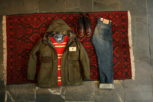 The Hip Store x Anchor Division – Fall Picks v3 Red Wing Beckman boots in cigar, 1967 505 jeans by Levi's Vintage Clothing, denim button down shirt by Our Legacy, striped pocket l/s tee by YMC & wool fishing jacket by Barbour x Tokihito.