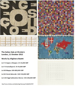Image with all the works by Alighiero Boetti to be sold by Christie's in London on 11 October 2012.