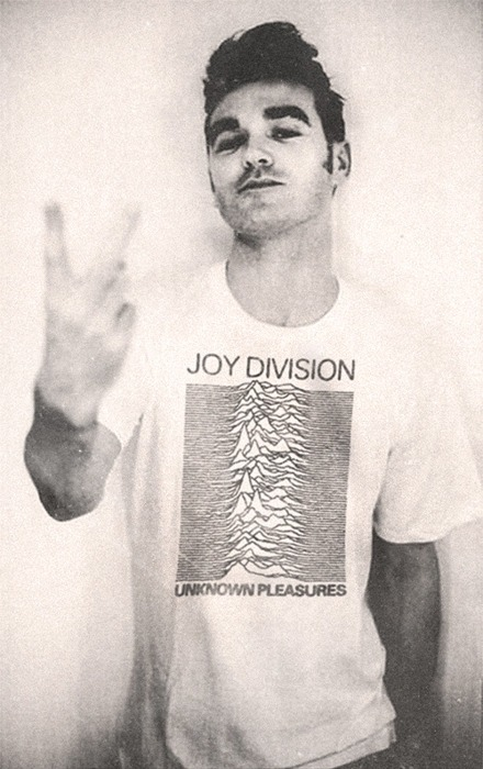 MORRISSEY IN A JOY DIVISION SHIRT.My day is made.