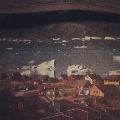 "A lovely picture of Greenland in today's New York Times… The title reads, ""Greenland Weighs Peril and Potential of Climate Change: In one Greenland town, climate change is threatening a fishing culture but also hinting at new opportunities in mining. Page A4"" #lol #climatechange #climate #greenland #globalqarming #environment #mining #energy #industrialization #civilization #newyork #nyc #newyorktimes #news #lulz (Taken with Instagram)"