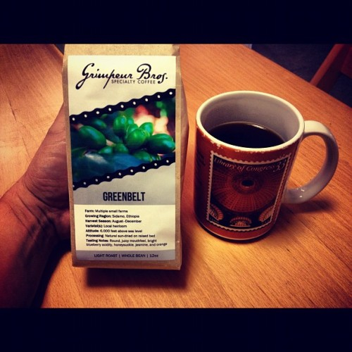 via grimpeurbrosspecialtycoffee:  New & old…My Monday #MorningCup: #Greenbelt #SingleOrigin French Pressed~ da @grimpeurbros coffee is new, the mug is an old treasured reminder of Ms GrimpreurBros @Smithsonian Fellowship @ the National Gallery the Summer before we got married ~ #memories #SoGood #coffee #BlueberryBOMB - nü @instagram pic experiment starting today…stay tuned! (Taken with Instagram)  DISCLOSURE #1: I am a Co-Founder and one of the Grimpeur Bros. DISCLOSURE #2: Some totems can take you back to like it was yesterday. This can be good and bad.