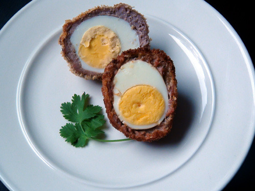 "Scotch Eggs from An Echo in the Bone  I put down my cup and stared at him. ""You don't mean you aren't planning to go ho-to go back to the Ridge?""  I had a sudden empty feeling in the pit of my stomach, remembering our plans for the New House, the smell of balsam fir, and the quiet of the mountains.  Did he really mean to move to Boston or Philadelphia? ""No,"" he said, surprised.  ""Of course we shall go back there.  But if I mean to be in the printing trade, Sassenach, we shall need to be in a city for a time, no?  Only 'til the war is over,"" he said, encouraging. ""Oh,"" I said in a small voice.  ""Yes. Of course."" I drank tea, not tasting it.  How could I have been so stupid?  I had never once thought that, of course, a printing press would be pointless on Fraser's Ridge.  In part, I supposed, I simply hadn't really believed he would get his press back, let alone thought ahead to the logical conclusion if he did. But now he had his Bonnie back, and the future had suddenly acquired a disagreeable solidity.  Not that cities didn't have considerable advantages, I told myself stoutly.  I could finally acquire a decent set of medical instruments, replenish my medicines — why, I could even make penicillin and ether again!  With a little better appetite, I took a Scotch egg. Diana Gabaldon, An Echo in the Bone (Chapter 74 – Twenty-Twenty) Read more and find the recipe here:"