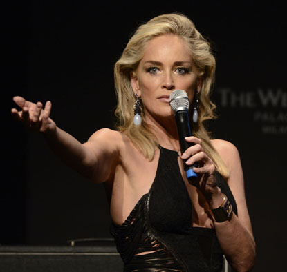 Sharon Stone looked stunning at the AMFAR Charity Auction during the Milan Womens Fashion Week Spring/Summer 2013 at the Westin Palace in Milan, Italy on September 22, 2012.