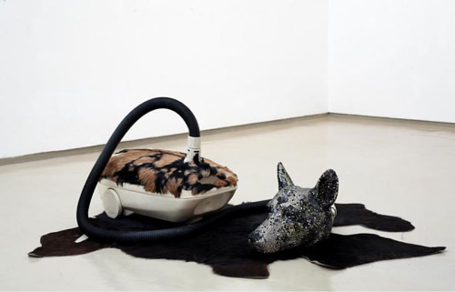 Bharti Kher, Hungry Dogs Eat Dirty Pudding, 2004, Fiberglass and plastic, 203.2 x 76.2 x 101.6 cm.