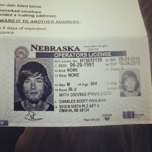 I now have a nebraska license! #omaha #nebraska  (Taken with Instagram)