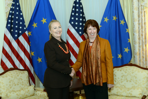 U.S. Secretary of State Hillary Rodham Clinton meets with EU High Representative Catherine Ashton in New York City on September 23, 2012. [State Department photo/ Public Domain]