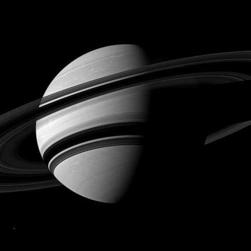 Angling Saturn The Cassini spacecraft takes an angled view toward Saturn, showing the southern reaches of the planet with the rings on a dramatic diagonal. North on Saturn is up and rotated 16 degrees to the left. This view looks toward the southern, unilluminated side of the rings from about 14 degrees below the ringplane. The rings cast wide shadows on the planet's southern hemisphere. The moon Enceladus (313 miles, or 504 kilometers across) appears as a small, bright speck in the lower left of the image. Image Credit:NASA/JPL-Caltech/Space Science Institute