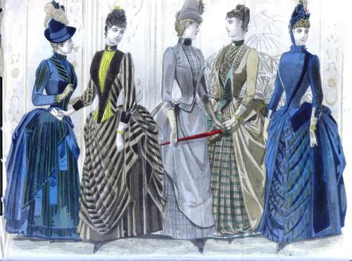 color fashion plate from 1887 edition of Peterson's Magazine