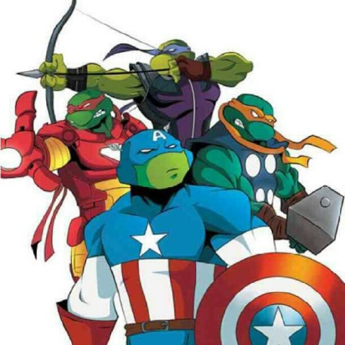 hahaflex:  #teenagemutantninjaturtles #tmnt #avengers #Thor #ironman #captain #America #hawkeye #cool (Taken with Instagram)  Cast perfectly.