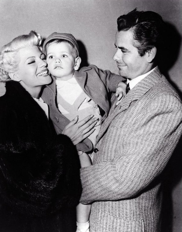 forlovelyritahayworth:   Glenn and son Peter Ford visit Rita Hayworth on the set of The Lady From Shanghai, c. 1947.