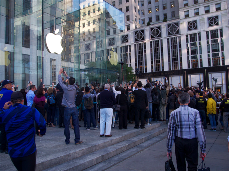 "Apple sells over 5 million of its iPhone 5 on first weekend (Photo: Rosa Golijan / NBC News) The iPhone 5 started shipping (and hitting store shelves) on Friday, Sept. 21. According to Apple, the company has sold more than five million of the new iPhone model in the three days since its debut. ""We are working hard to get an iPhone 5 into the hands of every customer who wants one as quickly as possible,"" Apple CEO Tim Cook said in a press release from the Cupertino-based company. ""While we have sold out of our initial supply, stores continue to receive iPhone 5 shipments regularly and customers can continue to order online and receive an estimated delivery date. We appreciate everyone's patience and are working hard to build enough iPhone 5s for everyone."" Read the complete story."