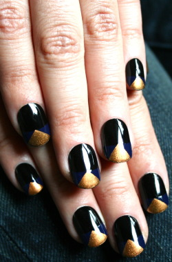 Black, royal blue, and gold. xx ManicMonday juliannemonday.com
