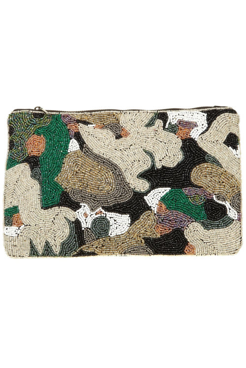 Beaded camo clutch. Topshop.