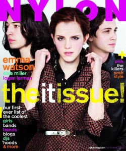 nylonmag:  Oh hello, Emma Watson, Logan Lehrman, and Ezra Miller.  Fancy seeing you on our OCTOBER COVER!!!