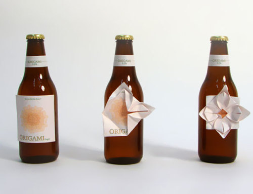 Beautiful and smart packaging for Origami beer, designed by Clara Lindsten. The beer label is pre-folded, allowing people to play with it and construct something cool and unexpected.