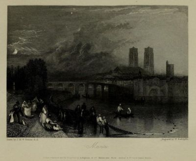 yama-bato:  Wanderings by the Seine : from Rouen to the source (1835) Author: Ritchie, Leitch, 1800?-1865; Turner, J. M. W. (Joseph Mallord William), 1775-1851, ill. illPublisher: London : Published for the proprietor, by Longman, Rees, Orme, Brown, Green, and Longman ; Paris : Rittner & Goupil ; Berlin : A. Asher via