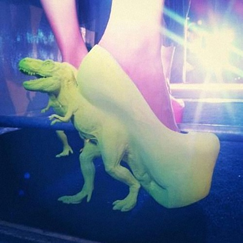 thedailywhat:  T-Rex High Heels of the Day: Sadly, a Google search for details came up empty. [doobybrain]