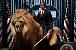 Obama Riding a Lion by Jason Heuser