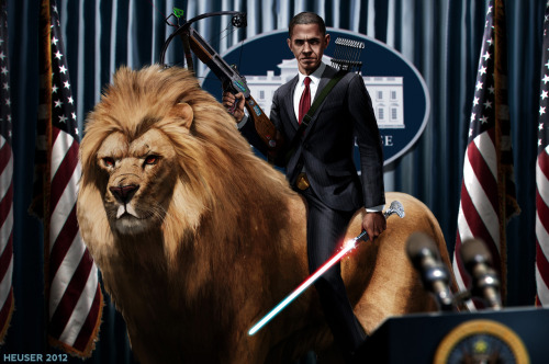 Obama Riding a Mighty Lion Wielding a Crossbow & Light Saber by Jason Heuser